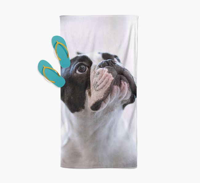 Personalised Photo Upload Beach Towel with your French Bulldog