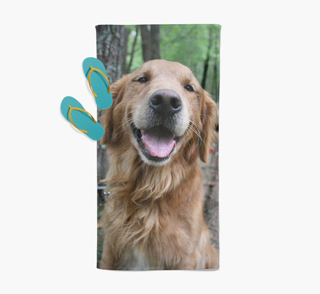 Personalised Photo Upload Beach Towel with your Golden Retriever