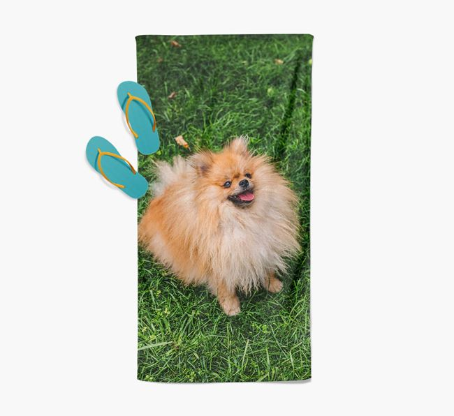 Personalised Photo Upload Beach Towel with your Pomeranian