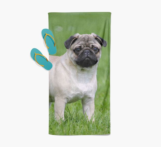 Personalised Photo Upload Beach Towel with your Pug