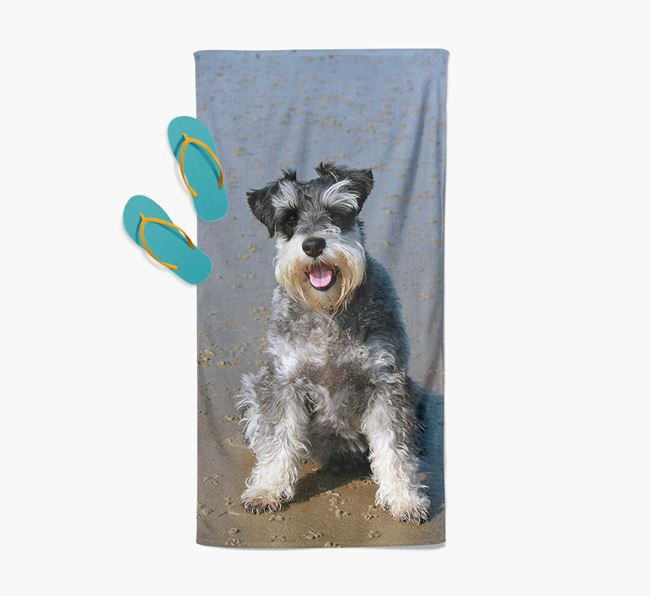 Personalised Photo Upload Beach Towel with your Schnauzer