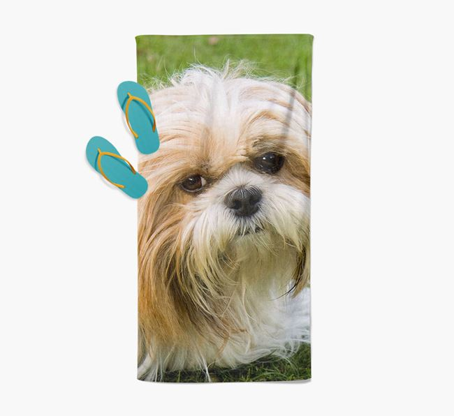 Personalised Photo Upload Beach Towel with your Shih Tzu