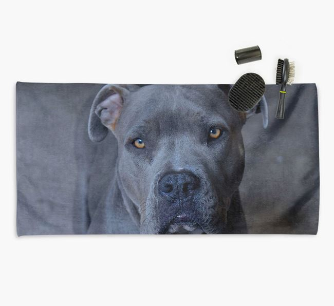 Personalised Photo Upload Dog Towel with your American Pit Bull Terrier