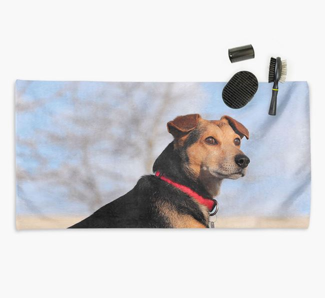 Personalised Photo Upload Dog Towel with your Bearded Collie