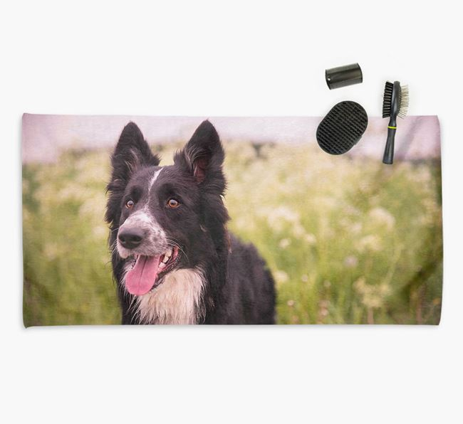 Personalised Photo Upload Dog Towel with your Border Collie
