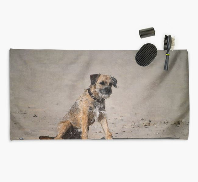 Personalised Photo Upload Dog Towel with your Border Terrier