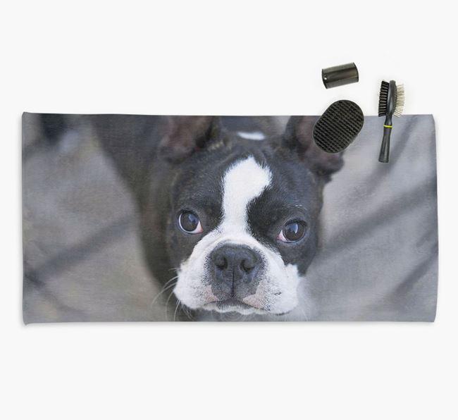 Personalised Photo Upload Dog Towel with your Boston Terrier