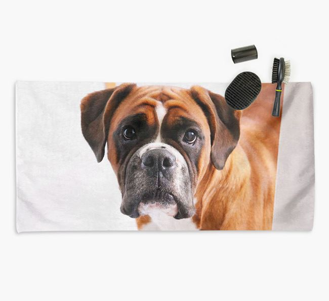 Personalised Photo Upload Dog Towel with your Boxer
