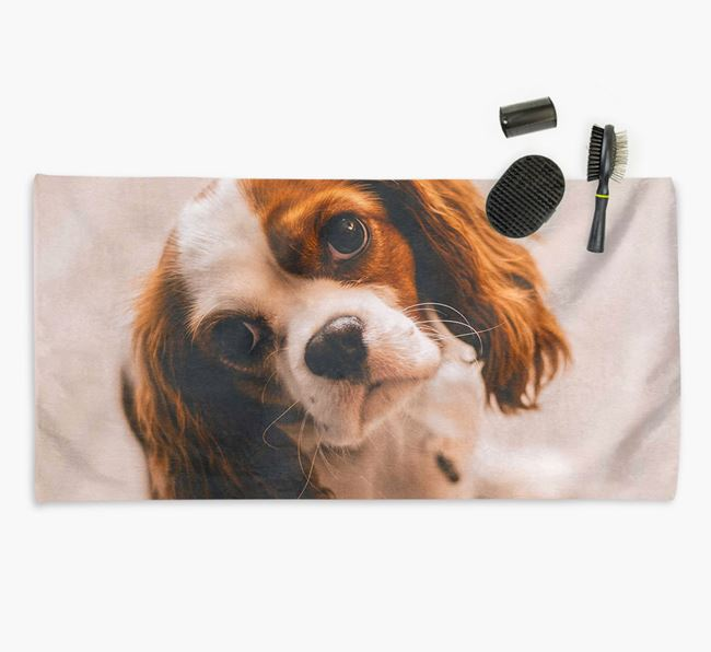 Personalised Photo Upload Dog Towel with your Cavalier King Charles Spaniel