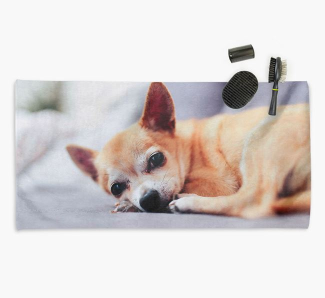 Personalised Photo Upload Dog Towel with your Chihuahua