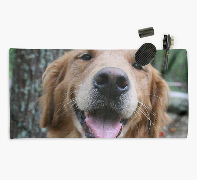 Personalised Photo Upload Dog Towel with your Golden Retriever
