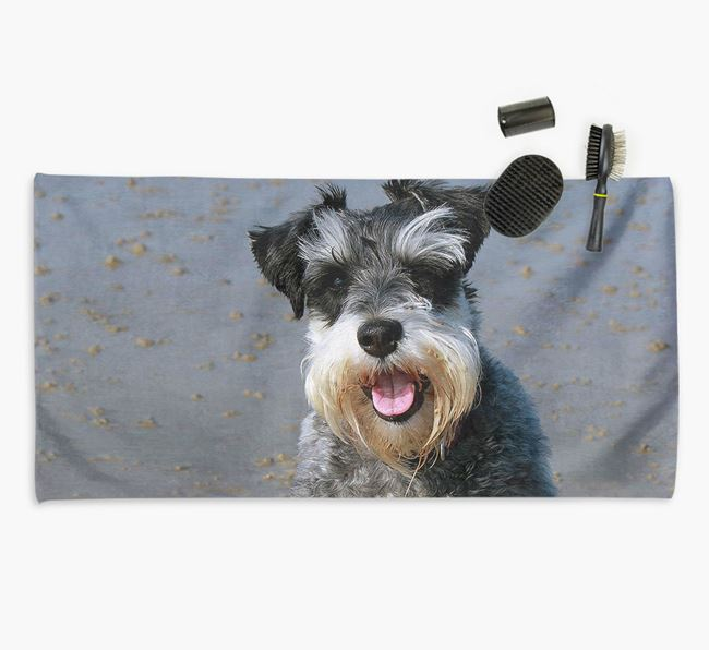 Personalised Photo Upload Dog Towel with your Schnauzer