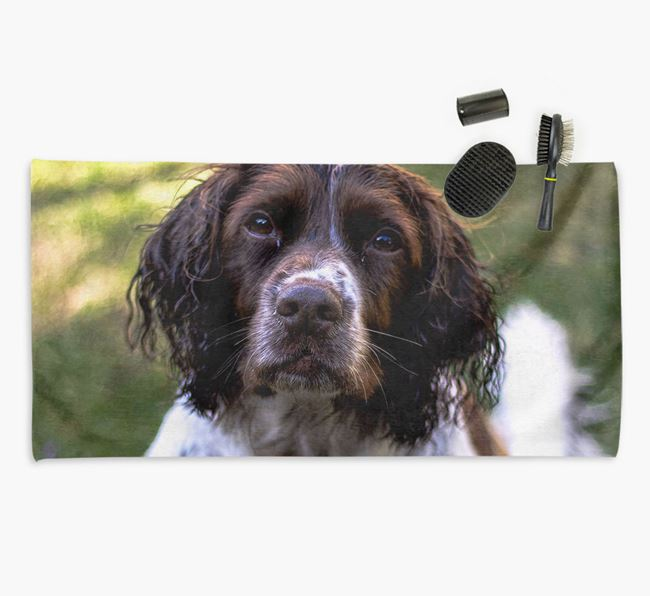 Personalised Photo Upload Dog Towel with your Springer Spaniel