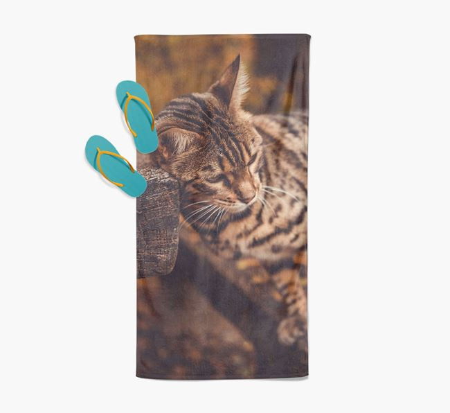 Photo Upload Beach Towel with your Bengal