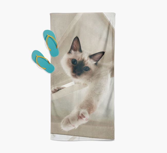 Photo Upload Beach Towel with your Cat