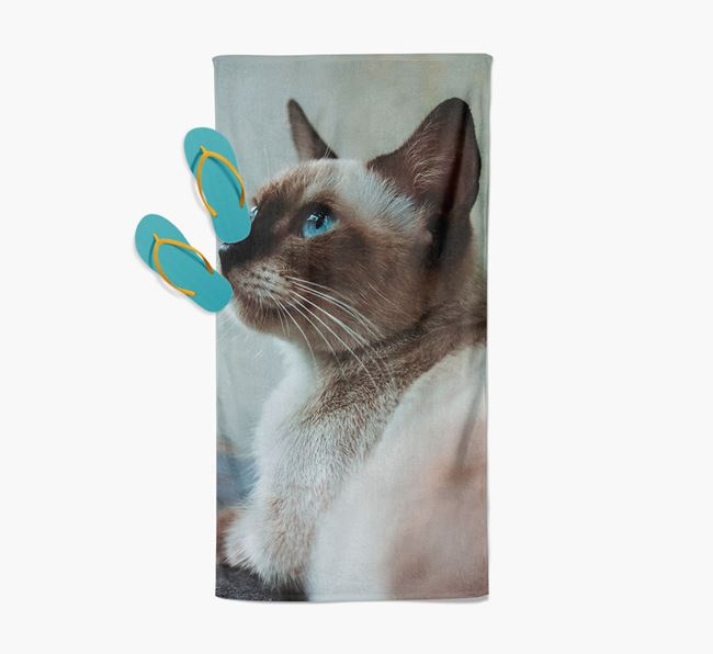 Photo Upload Beach Towel with your Siamese