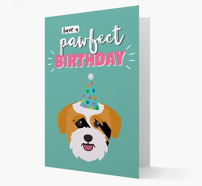 'Have A Pawfect Birthday' - Personalized Bichon Yorkie Card