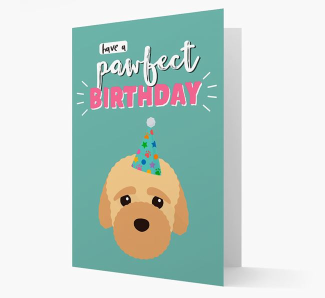 'Have A Pawfect Birthday' - Personalized Bich-poo Card