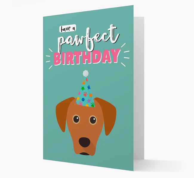 'Have A Pawfect Birthday' - Personalized Blue Lacy Card