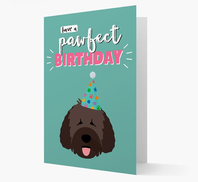 'Have A Pawfect Birthday' - Personalized Spanish Water Dog Card