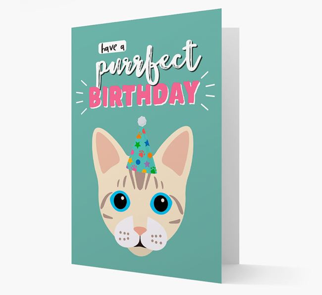 'Have a Purrfect Birthday' - Personalized Bengal Card