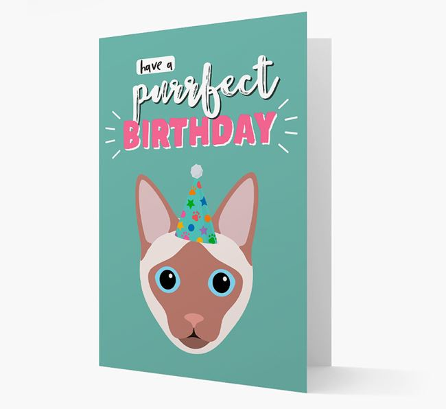'Have A Purrfect Birthday' - Personalized Siamese Card
