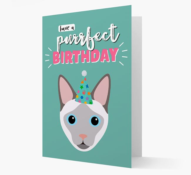 'Have a Purrfect Birthday' - Personalised Siamese Card