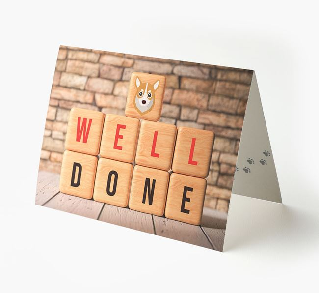 'Well Done' Card With Chihuahua Cube Icon
