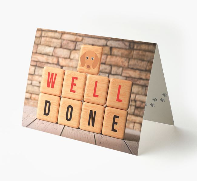 'Well Done' Card With Dachshund Cube Icon