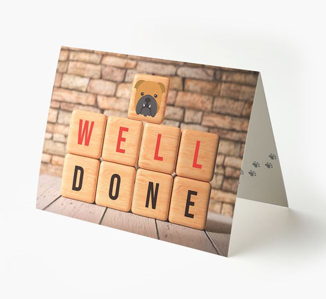 'Well Done' Card With English Bulldog Cube Icon
