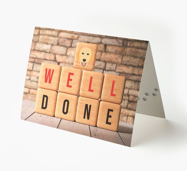 'Well Done' Card With Golden Retriever Cube Icon