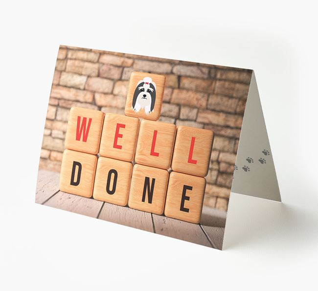 'Well Done' Card With Lhasa Apso Cube Icon