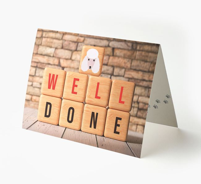 'Well Done' Card With Poodle Cube Icon