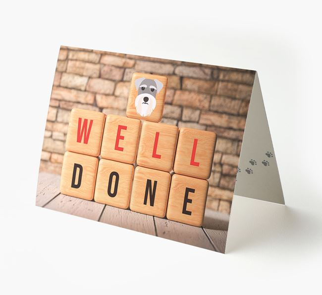 'Well Done' Card With Schnauzer Cube Icon