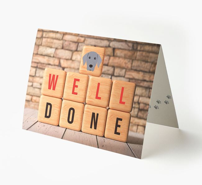 'Well Done' Card With Dog Cube Icon