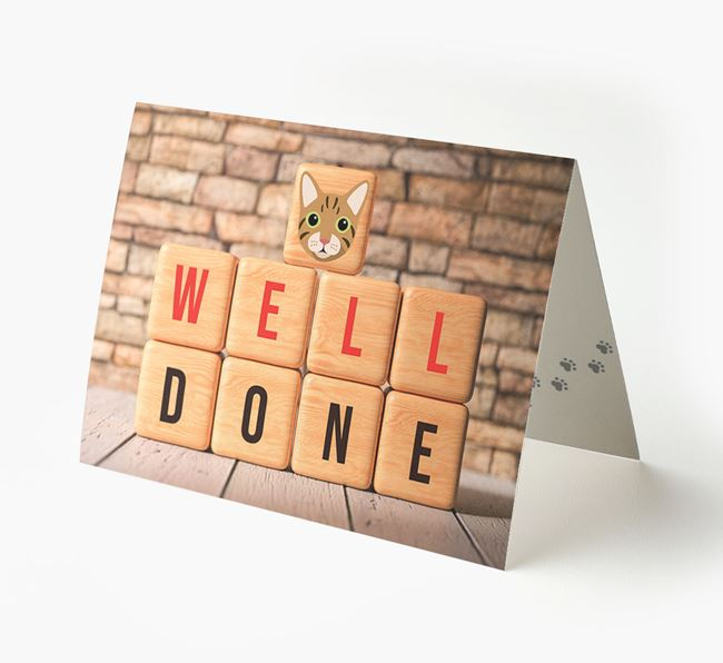 'Well Done' - Personalized Cat Card