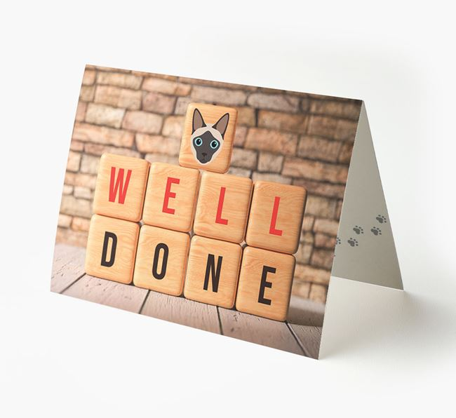 'Well Done' Card With Siamese Cube Icon