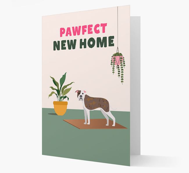 'Pawfect New Home' - Personalized American Bulldog Card