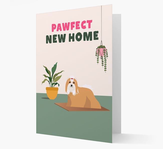 'Pawfect New Home' - Personalised Lhasa Apso Card