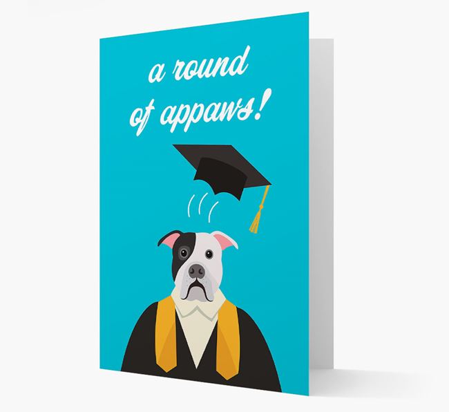 'A Round of Appaws!' - Personalized American Bulldog Card