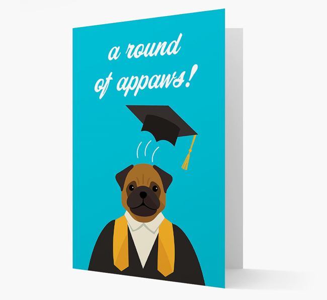'A Round of Appaws!' - Personalized Pug Card