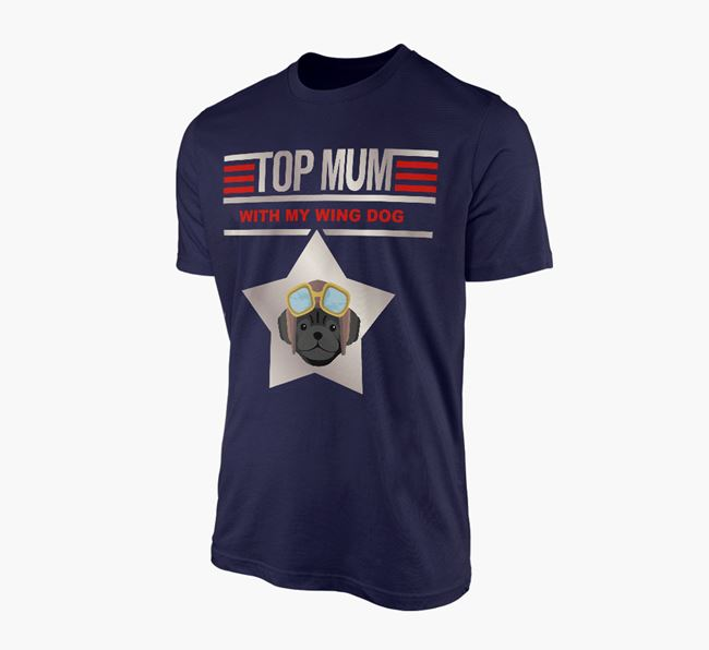 'Top Mum' - Personalised Pug Adult T-shirt