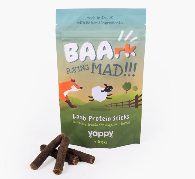 """""""Baark Raving Mad' Lam Protein Sticks for your Chihuahua"""