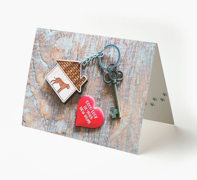 'Home, Heart, Keys - Good Luck in Your New Home' - American Bulldog Card