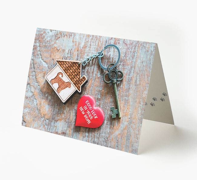 'Home, Heart, Keys - Good Luck in Your New Home' - Spanish Water Dog Card