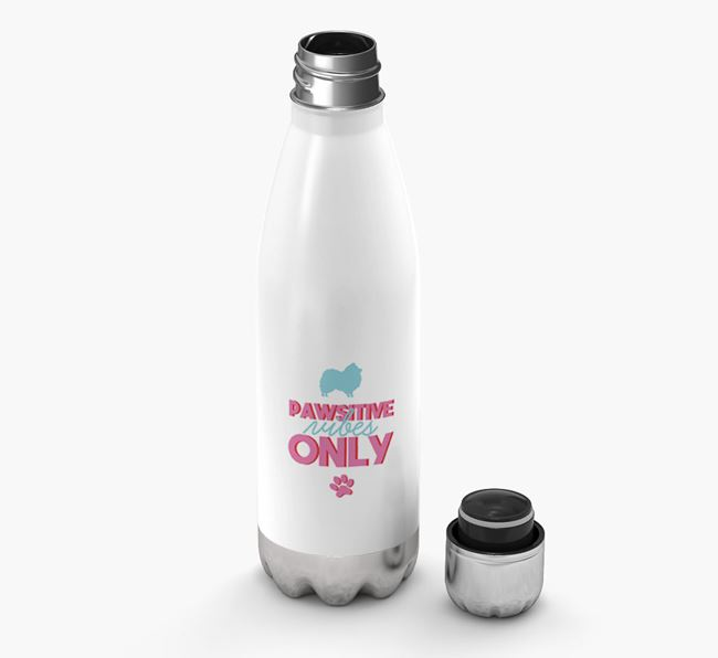 'Pawsitive Vibes Only' - Personalized Pomeranian Water Bottle