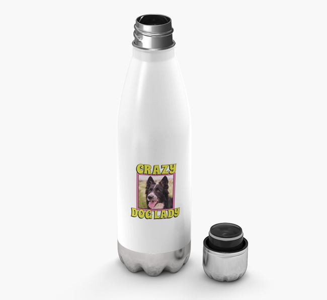 'Crazy Dog Lady' - Personalized Border Collie Water Bottle