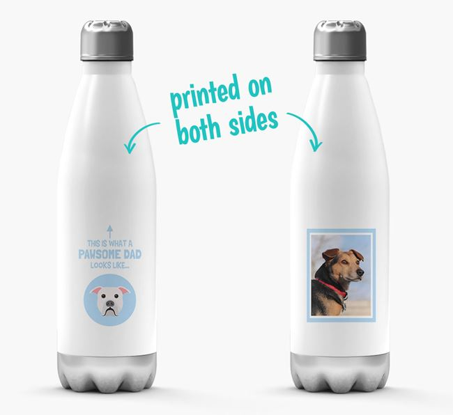 'Pawsome Dad...' - Personalized American Bulldog Water Bottle
