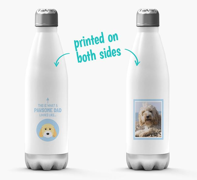 'Pawsome Dad...' - Personalised Cockapoo Water Bottle