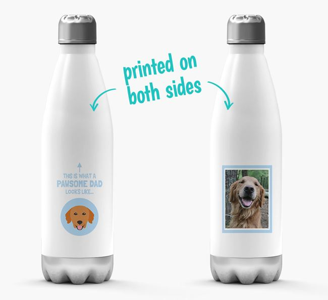 'Pawsome Dad...' - Personalized Golden Retriever Water Bottle